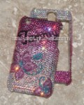 Pink Flower with Fading effect - Swarovski  crystallized phone case