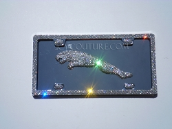 3D JAGUAR License Plate Swarovski Crystals.