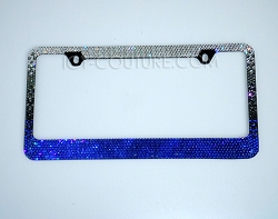 Sapphire Ombre Bling License Plate Frame Swarovski Crystals