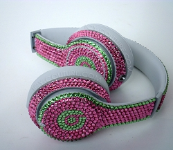 AKA Sorority Colors - Bling Beats Design w/Swarovski Crystals