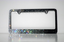 Black Diamond HORIZONTAL OMBRE - Swarovski Crystal License Plate Frame