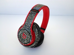 Couture Style Bling Beats Design with Swarovski Crystals  - Black & Red