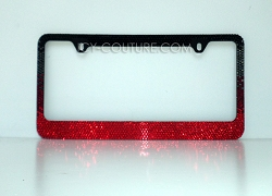 Black to Red Ombre License Plate Frame Swarovski Crystals