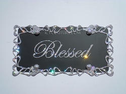 BLESSED License Plate with Swarovski Crystals