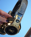 Custom MONSTER Gun Metal 24K Gold Headphones with Swarovski Crystals Bling