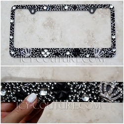 ROYAL HIGHNESS - Old Hollywood style 3D Crowns Swarovski Bling License Plate Frame