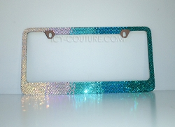 Horizontal Turquoise Ombre  License Plate Frame Swarovski Crystals