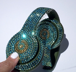 TURQUOISE AB & 24K GOLD - Bling Beats Design with Swarovski Crystals