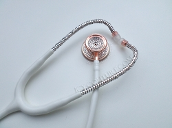 Rose Gold & Diamonds White Tube Stethoscope Swarovski Crystals