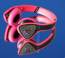 Black on Pink MONSTER DNA Headphones with Swarovski Crystals