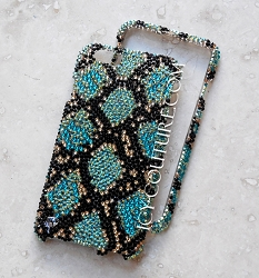 BLUE PYTHON Sparkling Skin Snake ICY Couture Crystal Phone Cover