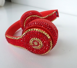 Royal Red 24K Gold Couture Bling Beats Design with Swarovski Crystals