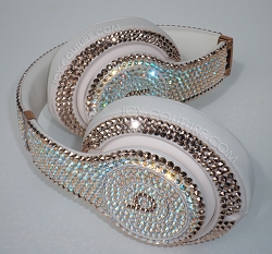 Rose Gold Shimmer Haute Couture Beats Design with Swarovski Crystals