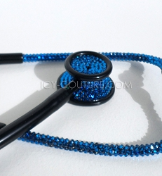 Blue on Black Stethoscope with Swarovski Crystals. Select Your Brand
