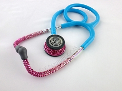 Blue Tube Stethoscope Pink Ombre Swarovski Crystals. Select Your Brand.