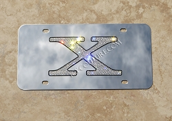 TESLA X Model Custom License Plate with Swarovski Crystals