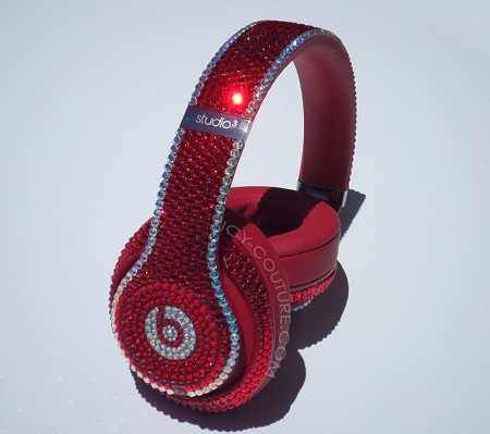 Red Shimmer Couture Style Bling Beats Design with Swarovski Crystals