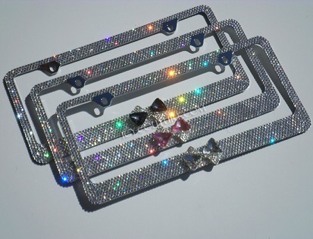 3D Bling Bow License Plate Frame Swarovski Crystals