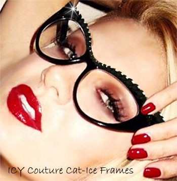 ICY Couture NIKITA Crystal Shapes, Clear Lenses, Black CAT-ICE Frames