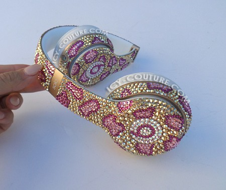 Golden Pink Leopard BLING Beats Design with Swarovski Crystals.
