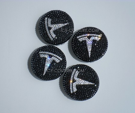 TESLA Center Wheel Rim Caps Swarovski Crystals. Whats Your Colors?