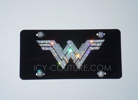 WONDER WOMAN or YOUR LOGO Custom License Plate with Swarovski Crystals