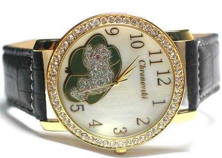 Oversized Swarovski Crystal Lady Watch - Lucky frog - Black leather strap