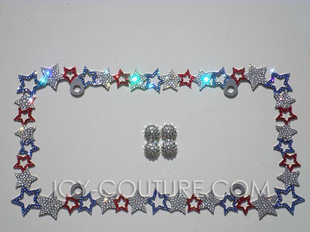 American Flag Cutout Stars License Plate Frame with Swarovski Crystals