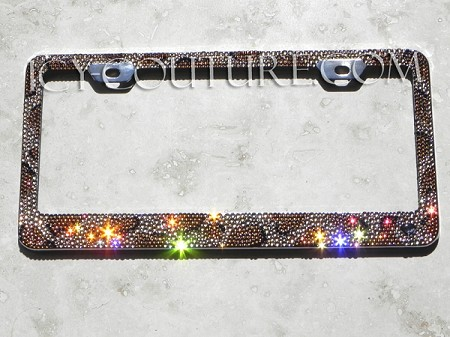 LEOPARD PRINT custom ICY COUTURE Crystal License Plate Frame. Whats Your Colors?