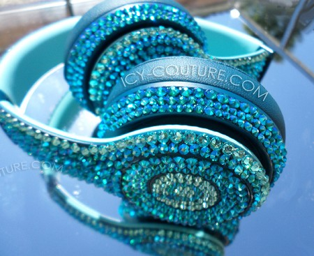 Blue Zircon Shimmer Couture Beats Design with Swarovski Crystals