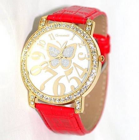 Chronovski Lady Watch -  ICY Red Butterfly