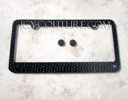 3 Shades of BLACK Swarovski Crystals on BLACK License Plate Frame