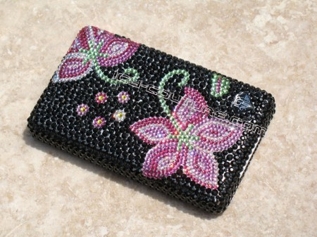 """Pink Flowers on Black"" bedazzled Swarovski crystallized cell phone"