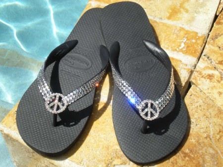 """Peace on Black"" Swarovski ICY Signature flip-flops"