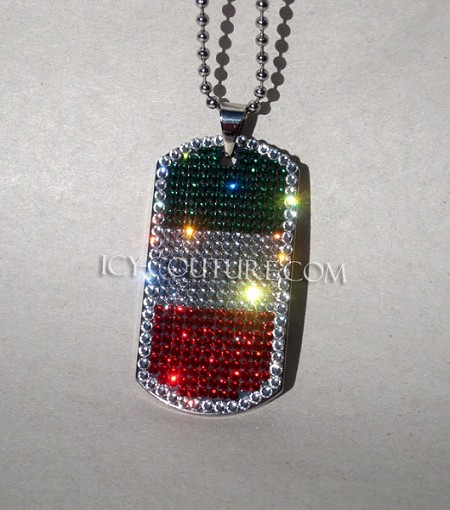 Italian Flag - Custom Bedazzled ID Tag. Select your options!