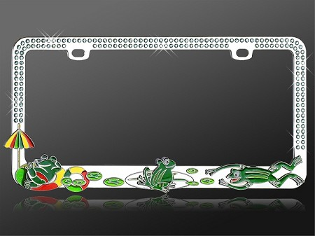 Happy Frogs - Rhinestone License Plate Frame with Light Blue Crystals