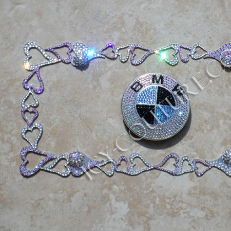 ELEGANT HEARTS - Swarovski Crystal Bling License Plate Frame with HEARTS. Whats your color?
