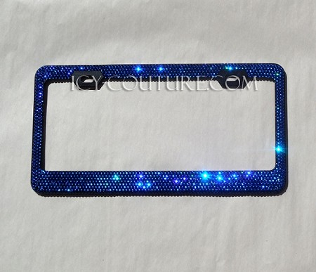 BLUE on BLACK Swarovski Crystal License Plate Frame