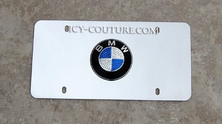 BMW 3D Logo License PLATE bedazzled with Swarovski crystals. Whats your color?