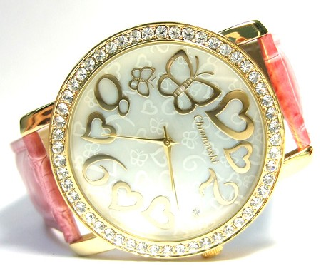 Oversized Swarovski Crystal Lady Watch - Hearts & Butterfly