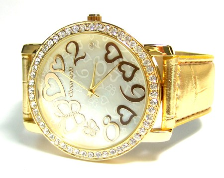 Oversized Swarovski Crystal Lady Watch - Hearts & Butterfly - Gold strap