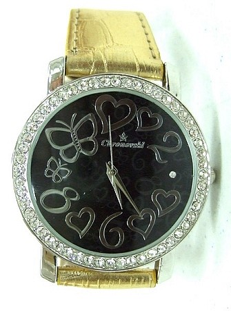 Bling Bling Fashion Lady Watch - Hearts & butterflies - GOLD strap