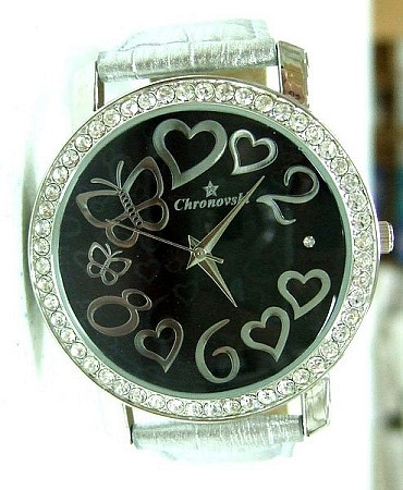 Bling Bling Fashion Lady Watch - Hearts & butterflies - SILVER strap
