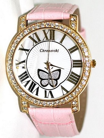 Bling-Bling Fashion Lady Watch - Pink Butterfly