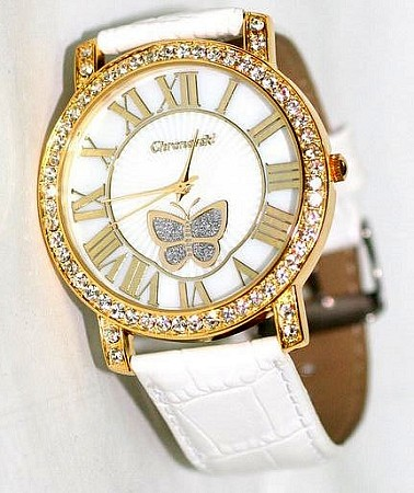 Bling-Bling Fashion Lady Watch - White Leather Stap Butterfly