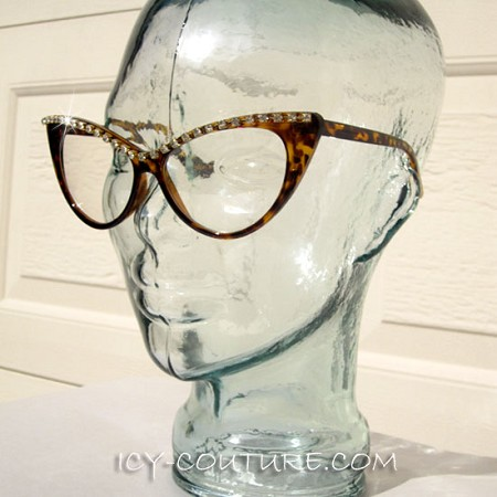 ICY Couture OXANA Crystal Chain, Clear Lenses, Vintage-Brown Frames