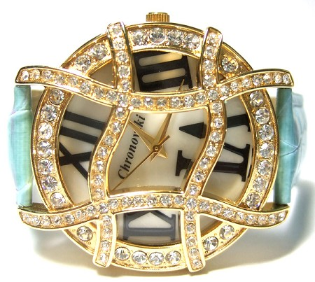 Light Blue strap, Gold plated Ladies Crystal Watch