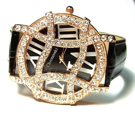 Bling-Bling Fashion Lady Watch - Gold Plated Frame
