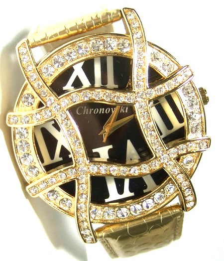 Gold strap, Black Face, Gold Plated Ladies Crystal Watch