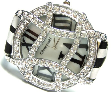 Zebra strap, Black Face, Gold Plated Ladies Crystal Watch